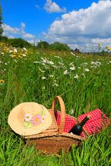 Picnic basket in summer flower field