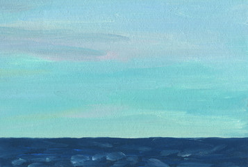 Hand drawn artistic background. Seascape. Skyline. A dark blue sea with waves and a light warm sky with an even texture. Oil painting.