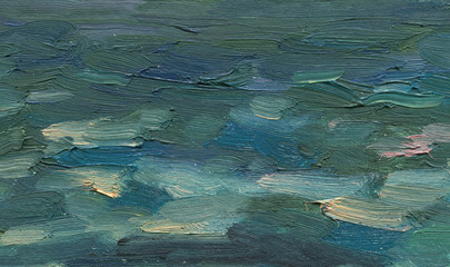 Solid hand drawn artistic background. Abstract sea waves in a storm. Oil painting. Rough wide large brush strokes