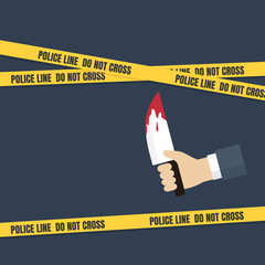 Crime scene concept, people hand holding knife with dripping blood. Police line do not cross tape
