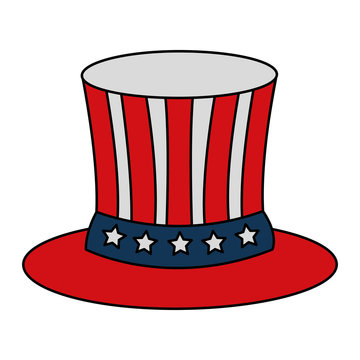 top hat flag american independence day vector illustration