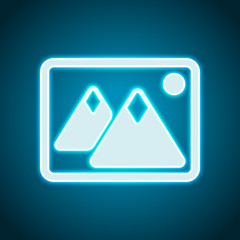Picture with couple of mountains and sun. Simple icon. Neon style. Light decoration icon. Bright electric symbol