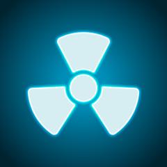 Radiation simple symbol. Radioactivity icon. Neon style. Light decoration icon. Bright electric symbol