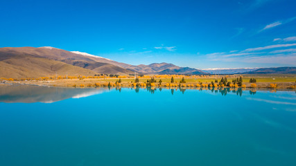 Aerial view of Lake Ruataniwha in New Zealand