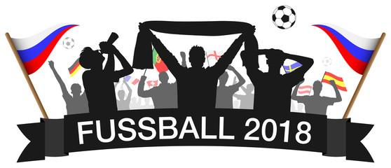 Fußball 2018 Fans Silhouette mit Länder Flaggen der Teilnehmer