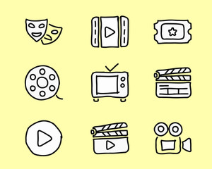 movie icon design illustration,hand drawn style design, designed for web and app