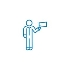 Successful employee line icon, vector illustration. Successful employee linear concept sign.