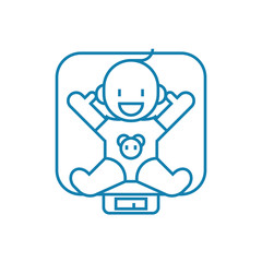 Swaddling a child line icon, vector illustration. Swaddling a child linear concept sign.