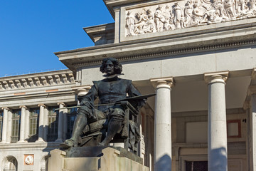 Velazquez Statue in front of Museum of the Prado in City of Madrid, Spain
