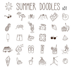 Set of 31 summer drawings. Vector doodle hand drawn icons. Beach, vacations, seasonal food and drinks and other summer illustrations