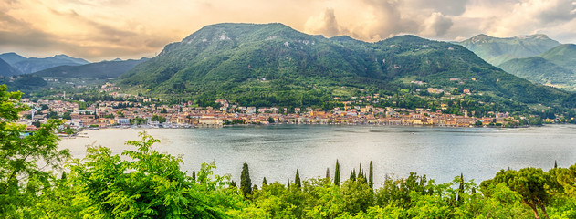 Aerial view over the Town of Salo, Lake Garda, Italy Wall mural