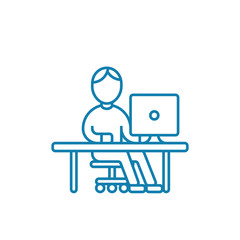 Working at the computer line icon, vector illustration. Working at the computer linear concept sign.