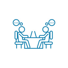 Working discussion line icon, vector illustration. Working discussion linear concept sign.