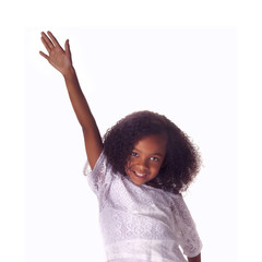 Smiling happy little girl with hands up to answer question in class isolated against white