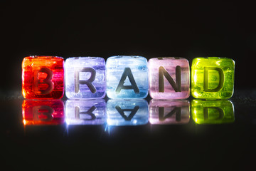 colorful cube shiny of BRAND text , marketing branding concept