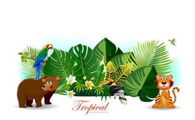 Jungle or Zoo Themed Animal Background.