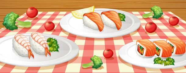 Sushi on Plate at Table