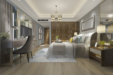 3d rendering luxury modern bedroom with wood cabinet and chandelier