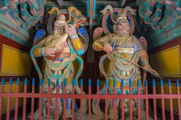 Wooden Korean Guardian Sculptures in Bulguksa Temple