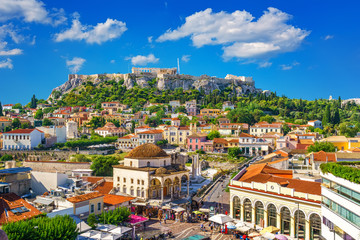 Spoed Fotobehang Athene View of the Acropolis from the Plaka, Athens, Greece