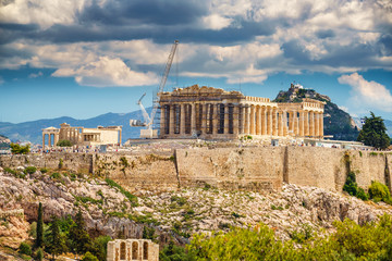 Recess Fitting Athens Parthenon, Acropolis of Athens, Greece at summer day