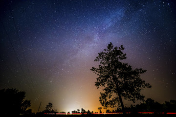Milky Way and car lights