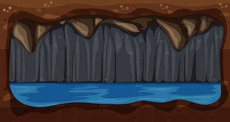 A Dark Underground Water Cave Vector