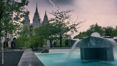 Cinemagraph of the Salt lake City Mormon LDS Church Temple during a