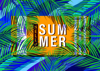 Flat lay of tropical summer concept with palm leaf and nature template background.Vector illustration.