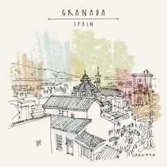 Granada, Andalusia, Spain. Hand drawn vintage touristic postcard