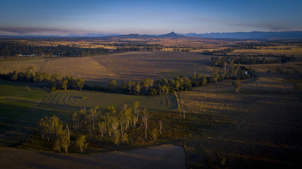 Aerial drone view of hay bales in the Scenic Rim, Queensland, Australia
