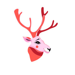 Vector illustration of deer portrait