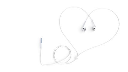earphones white color wire heart shape
