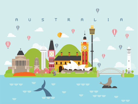 Australia Famous Landmarks Infographic Templates for Traveling Minimal Style and Icon, Symbol Set Vector Illustration Can be use for Poster Travel book, Postcard, Billboard.