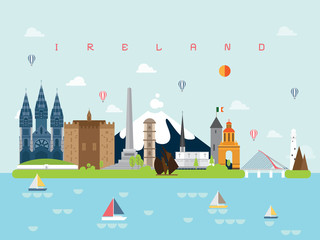 Ireland Famous Landmarks Infographic Templates for Traveling Minimal Style and Icon, Symbol Set Vector Illustration Can be use for Poster Travel book, Postcard, Billboard.
