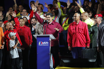 Venezuela's President Maduro stands with supporters after the results of the election were released in Caracas