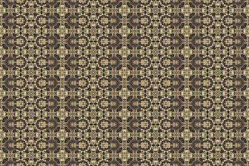 Golden yellow pattern on dark background. Graphic pattern with curls, fine lines, abstract colors in traditional tile style