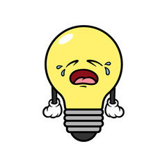 Cartoon Crying Light Bulb Character
