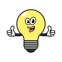 Cartoon Light Bulb Character Giving Thumbs Up