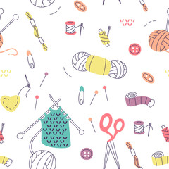 Pattern with Knitting and Sewing Tools. Vector Doodle Elements.