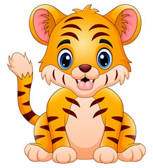Little tiger make a happy