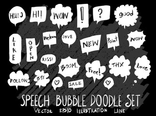 Hand drawn Sketch doodle vector speech bubble element icon set on Chalkboard eps10