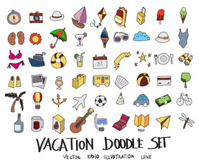 Hand drawn Sketch doodle vector line Vacation colour icon set on white eps10
