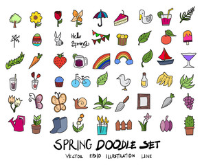 Hand drawn Sketch doodle vector line Spring colour icon set on white eps10