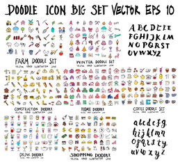Doodle Vector Big collection of farm, winter, construction, home, coffee, drink, shopping, font on white background