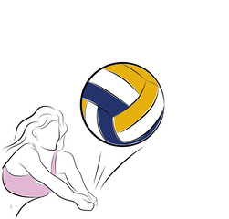 the woman is playing volleyball. Beach volleyball. vector illustration.