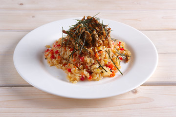 Pilaf with meat and bell pepper