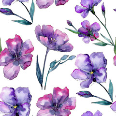 Violet flax. Seamless background pattern. Fabric wallpaper print texture. Aquarelle wildflower for background, texture, wrapper pattern, frame or border.