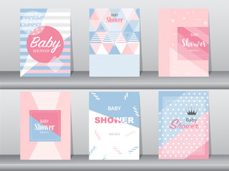 Set of baby shower card on retro pattern design,vintage,poster,template,greeting,Vector illustrations