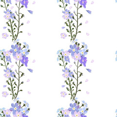 Wild flowers pattern. Cute blue littel garden flower.
